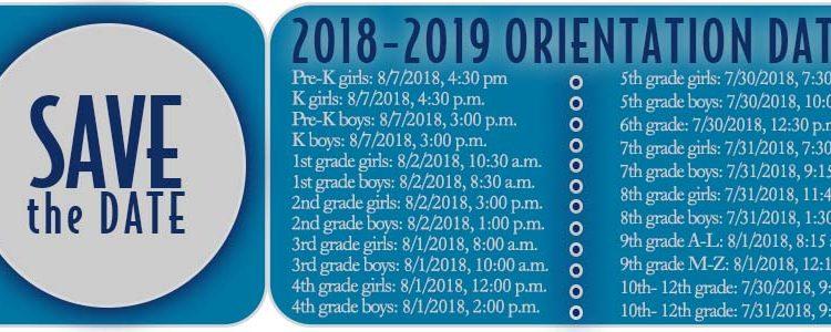 2018-2019 Orientation Dates